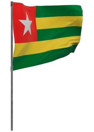 Togo flag on pole. Waving banner isolated. National flag of Togo