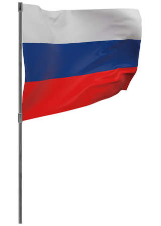 Russia flag on pole. Waving banner isolated. National flag of Russia Banque d'images - 167336368