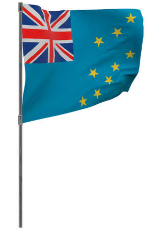 Tuvalu flag on pole. Waving banner isolated. National flag of Tuvalu Banque d'images - 167336266