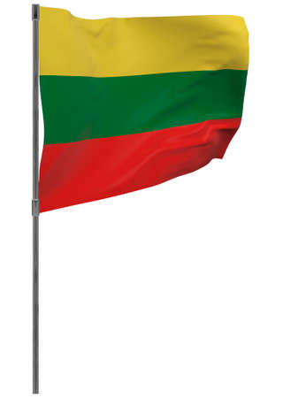 Lithuania flag on pole. Waving banner isolated. National flag of lithuania