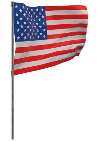 United States of America flag on pole. Waving banner isolated. National flag of United States of America 写真素材 - 167336312