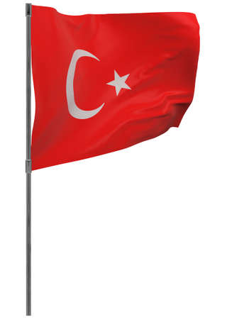 Turkey flag on pole. Waving banner isolated. National flag of Turkey Banque d'images - 167336248