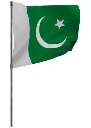 Pakistan flag on pole. Waving banner isolated. National flag of Pakistan