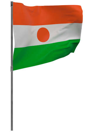 Niger flag on pole. Waving banner isolated. National flag of Niger Banque d'images