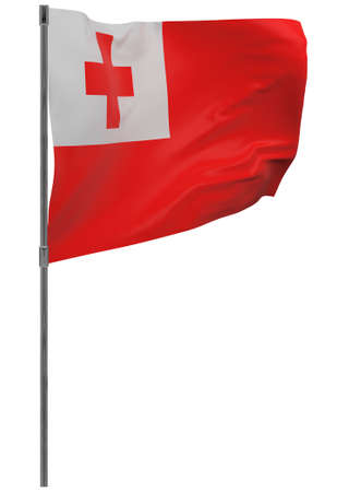 Tonga flag on pole. Waving banner isolated. National flag of Tonga