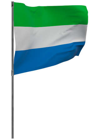 Sierra leone flag on pole Waving banner isolated. National flag of Sierra leone Banque d'images - 167336311