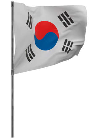 South korea flag on pole. Waving banner isolated. National flag of South korea