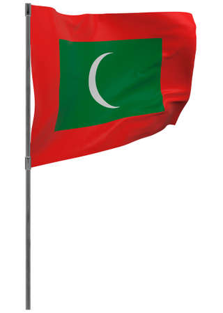 Maldives flag on pole. Waving banner isolated. National flag of Maldives Banque d'images - 167336451