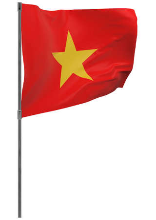 Vietnam flag on pole. Waving banner isolated. National flag of Vietnam Banque d'images - 167336354