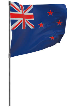 New Zealand flag on pole. Waving banner isolated. National flag of New Zealand