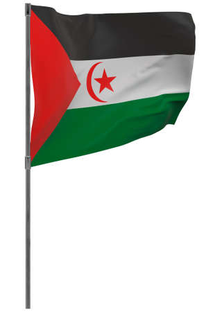 Sahrawi Arab Democratic Republic flag on pole. Waving banner isolated. National flag of Sahrawi Arab Democratic Republic 写真素材 - 167336337