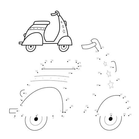 Dot to dot puzzle for children. Connect dots game. motorbike illustration