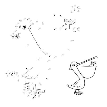 Dot to dot puzzle for children. Connect dots game. pelican illustration Illustration