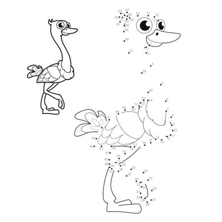 Dot to dot puzzle for children. Connect dots game. ostrich illustration Illustration