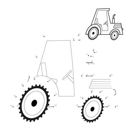 Dot to dot puzzle for children. Connect dots game. tractor illustration