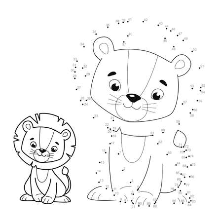 Dot to dot puzzle for children. Connect dots game. lion illustration