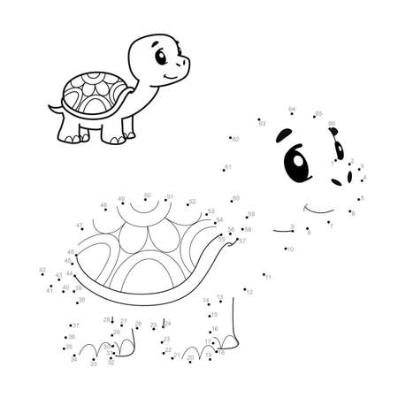 Dot to dot puzzle for children. Connect dots game. turtle illustration Illustration