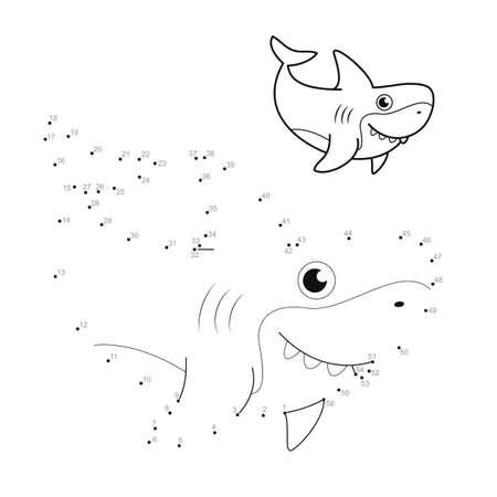 Dot to dot puzzle for children. Connect dots game. shark illustration Illustration