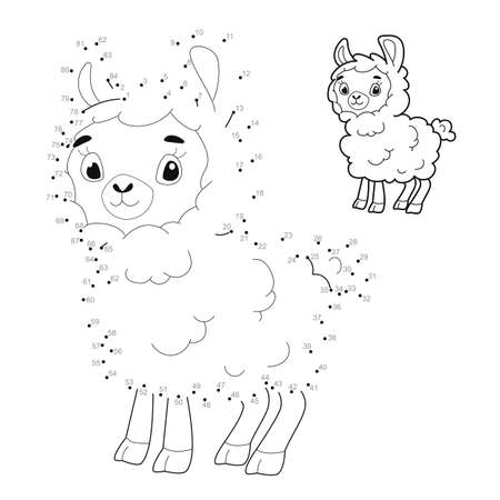 Dot to dot puzzle for children. Connect dots game. sheep illustration