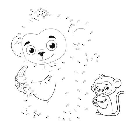 Dot to dot puzzle for children. Connect dots game. monkey illustration Illustration