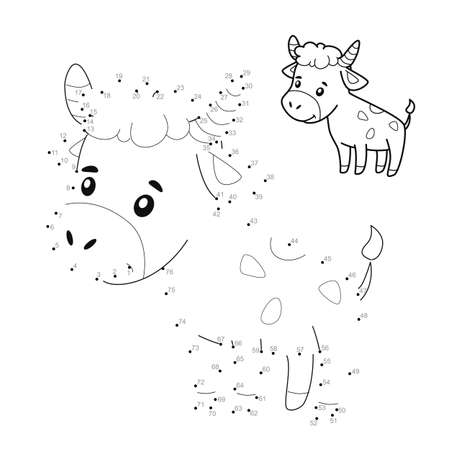 Dot to dot puzzle for children. Connect dots game. bull illustration