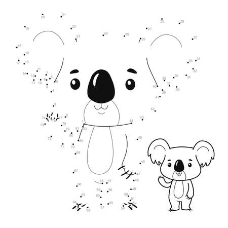 Dot to dot puzzle for children. Connect dots game. koala illustration