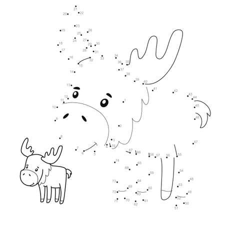 Dot to dot puzzle for children. Connect dots game. elk illustration