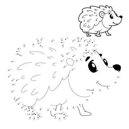 Dot to dot puzzle for children. Connect dots game. hedgehog illustration