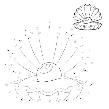 Dot to dot puzzle for children. Connect dots game. shell illustration
