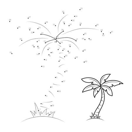 Dot to dot puzzle for children. Connect dots game. palm illustration Illustration