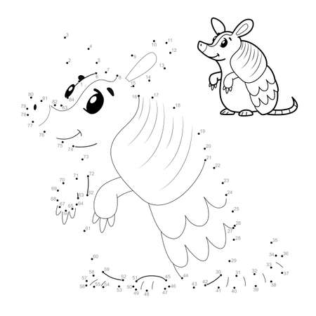 Dot to dot puzzle for children. Connect dots game. armadillo illustration