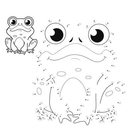 Dot to dot puzzle for children. Connect dots game. frog illustration Illustration
