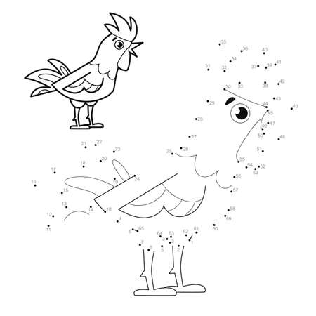 Dot to dot puzzle for children. Connect dots game. cock illustration