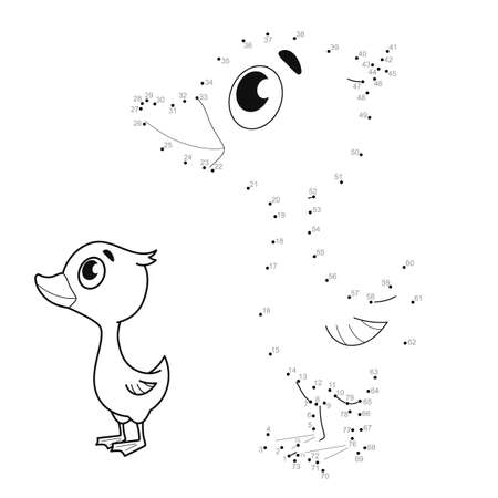 Dot to dot puzzle for children. Connect dots game. duckling illustration
