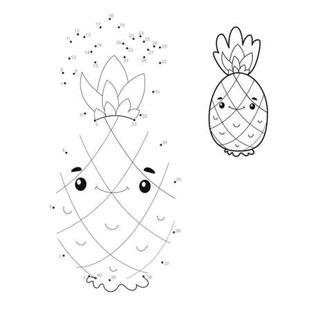 Dot to dot puzzle for children. Connect dots game. pineapple illustration