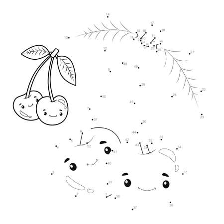 Dot to dot puzzle for children. Connect dots game. cherry illustration
