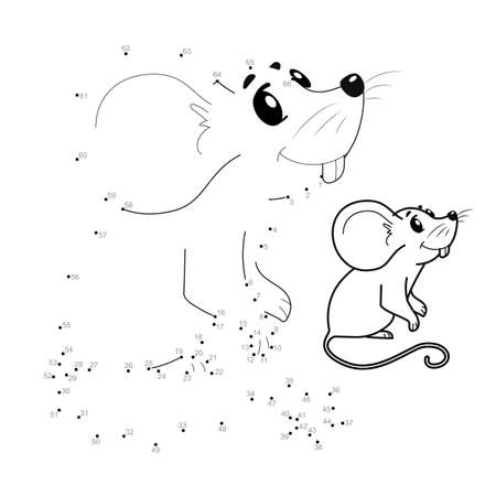 Dot to dot puzzle for children. Connect dots game. mouse illustration