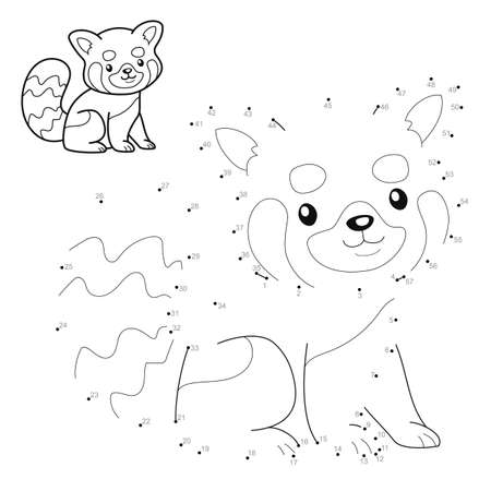 Dot to dot puzzle for children. Connect dots game. Red panda illustration Illustration