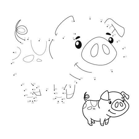 Dot to dot puzzle for children. Connect dots game. pig illustration Illustration