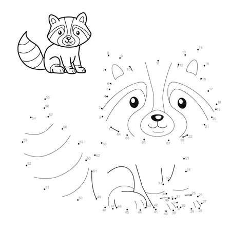 Dot to dot puzzle for children. Connect dots game. badger illustration