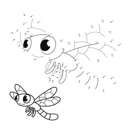 Dot to dot puzzle for children. Connect dots game. dragonfly illustration