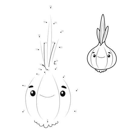 Dot to dot puzzle for children. Connect dots game. onion illustration