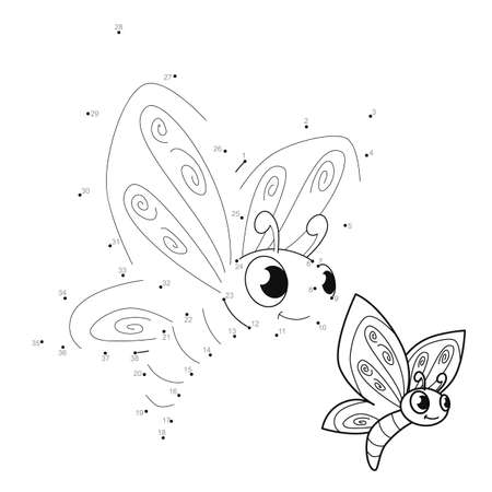 Dot to dot puzzle for children. Connect dots game. butterfly illustration