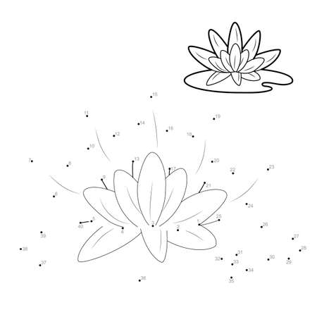 Dot to dot puzzle for children. Connect dots game. lotus illustration