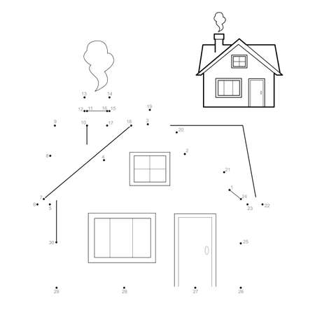 Dot to dot puzzle for children. Connect dots game. house illustration