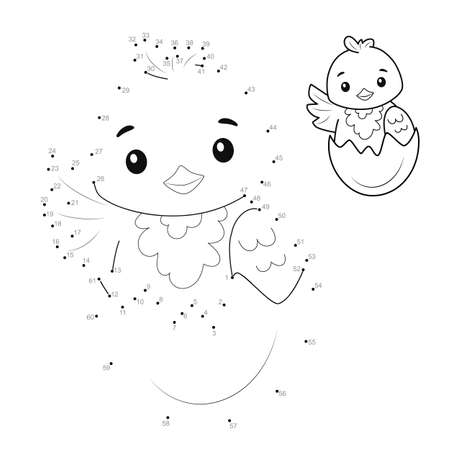 Dot to dot puzzle for children. Connect dots game. chick illustration