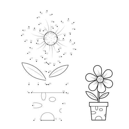 Dot to dot puzzle for children. Connect dots game. potted flower illustration