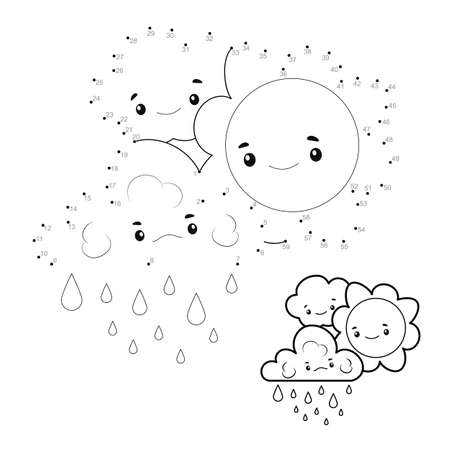 Dot to dot puzzle for children. Connect dots game. sun and cloud illustration Illustration