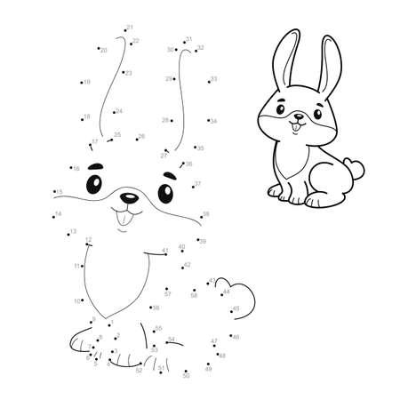Dot to dot puzzle for children. Connect dots game. rabbit illustration Illustration