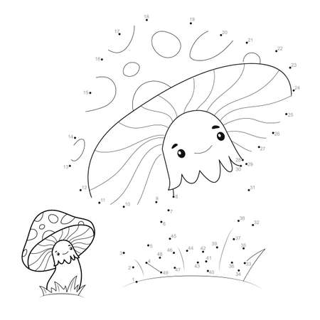 Dot to dot puzzle for children. Connect dots game. mushroom illustration